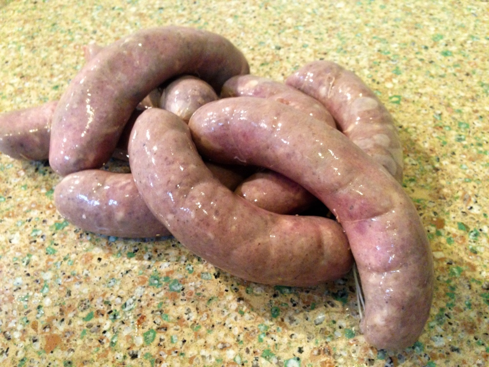 garlic red wine pork sausages