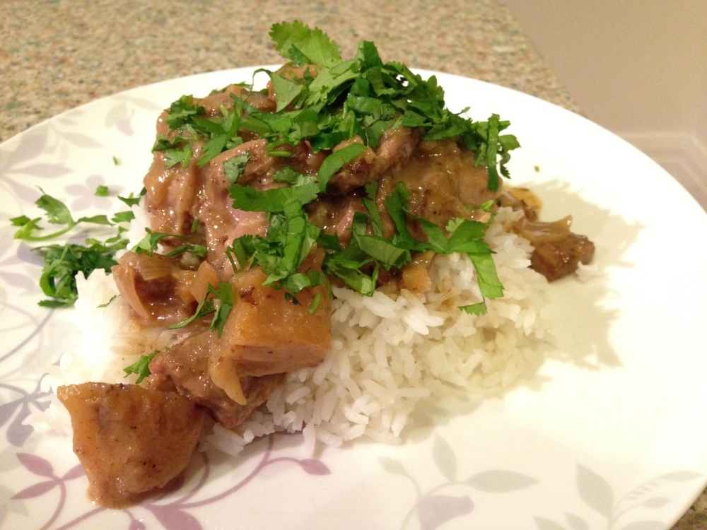 pork neck steak with coconut sauce